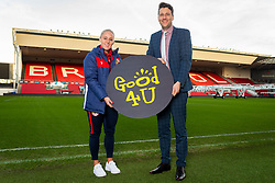 Bristol City Women's Alicia Johnson and Good 4 U's Karol Butler - Ryan Hiscott/JMP - 09/01/2019 - COMMERCIAL - Ashton Gate - Bristol, England - Bristol Sport Announce Sponsor Partnership with Good 4 U