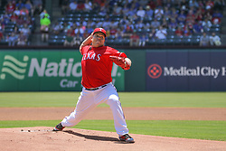 May 9, 2018 - Arlington, TX, U.S. - ARLINGTON, TX - MAY 09: Texas Rangers pitcher Bartolo Colon (40) throws to the plate during the game between the Detroit Tigers and the Texas Rangers on May 9, 2018 at Globe Life Park in Arlington, TX. (Photo by George Walker/Icon Sportswire) (Credit Image: © George Walker/Icon SMI via ZUMA Press)