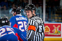 KELOWNA, CANADA - JANUARY 19: Referee Kyle Kowalski stands at centre ice on January 19, 2016 at Prospera Place in Kelowna, British Columbia, Canada.  (Photo by Marissa Baecker/Shoot the Breeze)  *** Local Caption *** Kyle Kowalski; Referee;