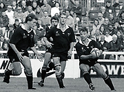 Twickenham, GREAT BRITAIN,      Rob ANDREW, with the ball is supported by left to right, Graham CHILDS, Steve BATES and Lawrence DALLAGLIO,  during the premiership match, Harlequins vs London Wasps, played at The Stoop Memorial Ground. 10.1994<br /> <br /> [Mandatory Credit; Peter Spurrier/Intersport-images]