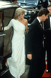 Diana, Princess of Wales, wearing an off the shoulder gown by Japanese designer Hachi, attends the film premiere of the film 'Octopussy' at the Odeon, Leicester Square, London in June 1983