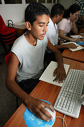 Boy at computer training at Joven Club; Havana; Cuba,