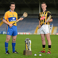 12 September 2012; Bord Gáis Energy Ambassadors Conor McGrath, of Clare, left, and Cillian Buckley, of Kilkenny, were in Thurles today ahead of Saturday's Bord Gáis Energy GAA Hurling U-21 All-Ireland Final which will be played in Semple Stadium, Thurles. Clare play Kilkenny at 7pm in a repeat of the 2009 Final. The game is preceded by Roscommon against Kildare in the 'B' Final, which throws in at 5pm. Both games will be live on TG4. Semple Stadium, Thurles, Co. Tipperary. Picture credit: Matt Browne / SPORTSFILE *** NO REPRODUCTION FEE ***