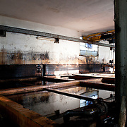 Santa Croce Sull'Arno, Italy. Italcuoio tannery SPA. Tanks for the slow tanning.