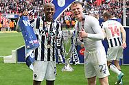 Nadjim Abdou of Millwall (L) & Aiden O'Brien of Millwall (R) celebrate with the trophy. EFL Skybet football league one play off final match, Bradford city v Millwall at Wembley Stadium in London on Saturday 20th May 2017.<br /> pic by Steffan Bowen,  Andrew Orchard sports photography.