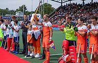 AMSTELVEEN - Billy Bakker (Ned) die zijn 200e interland speelt,  met Fan of the Match,  voor  de wedstrijd om de 3e plaats ,   Nederland-Groot Brittannie (5-3),  bij  de Pro League Grand Final hockeywedstrijd heren. COPYRIGHT KOEN SUYK