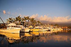 Sport fishing charter boats, Honokohau Harbor at sunset, Kona, Big Island, Hawaii, USA, Pacific Ocean