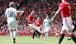 Manchester United Legends Ole Gunnar Solskjaer scores his side's first goal of the game during the legends match at Old Trafford, Manchester.