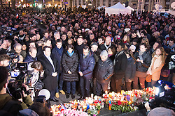 © Licensed to London News Pictures. 10/01/2016. France, Paris. Paris Mayor Anne Hidalgo joins thousands of people on Place de la Republique to remember the 149 people currently killed in terror attacks in Paris since the 2015 Charlie Hebdo events. Today January 10th 2016. Photo credit: Hugo Michiels/LNP