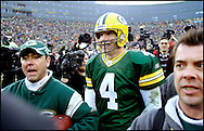 Green Bay's Brett Favre walks off the field after beating the Seahawks 23-17. .The Green Bay Packers hosted the Seattle Seahawks at Lambeau Field Sunday January, 1, 2006. Steve Apps-State Journal.