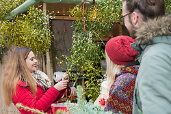 Friends with gifts and mistletoe twigs from plants