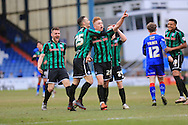 Callum Camps celebrations 1-3 during the Sky Bet League 1 match between Oldham Athletic and Rochdale at Boundary Park, Oldham, England on 19 March 2016. Photo by Daniel Youngs.