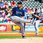 Aug 01 2019, Arlington, TX  U.S.A.  Seattle starting pitcher Yusei Kikuchi (18) on the mound during the MLB game between the Seattle Mariners and the Texas Rangers 11-3 win at Globe Life Park in Arlington,TX. Thurman James / CSM