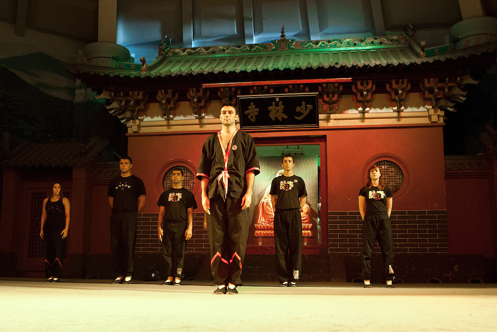 Si-Fu and his students arrive on the stage. The first non-Chinese school to perform on stage at Shaolin Temple.
