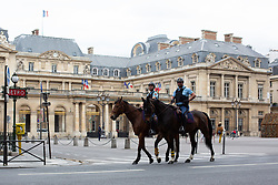 Mounted Police on horses on Rivoli Street in Paris on May 4, 2020, on the forty-ninth day of a strict lockdown in France, in place to attempt to stop the spread of the new coronavirus (COVID-19). Photo by Raphael Lafargue/ABACAPRESS.COM