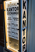 A detail of foreign exchanges showing current prices for US Dollars, British Pounds, Euros and Swiss Francs in a kantor window box, on 22nd September 2019, in Krakow, Malopolska, Poland.