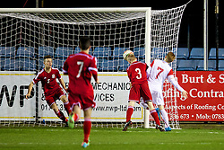 RHYL, WALES - Tuesday, March 18, 2014: Poland's Marco Drawz scores the first goal against Wales during the Under-15's International Friendly match at Belle Vue. (Pic by David Rawcliffe/Propaganda)