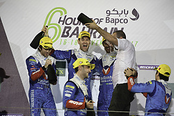 November 18, 2017 - Sakhir, BAHRAIN - 31 VAILLANTE REBELLION (CHE) ORECA 07 GIBSON LMP2 JULIEN CANAL (FRA) BRUNO SENNA (BRA) NICOLAS PROST (FRA) WINNER LMP2.#38 JACKIE CHAN DC RACING (CHN) ORECA 07 GIBSON LMP2 HO PIN TUNG (NLD) OLIVER JARVIS (GBR) THOMAS LAURENT (FRA) SECOND PLACE LMP2. #13 VAILLANTE REBELLION (CHE) ORECA 07 GIBSON LMP2 MATHIAS BECHE (CHE) DAVID HEINEMEIER HANSSON (DNK) NELSON PIQUET JR (BRA) THIRD PLACE LMP2 (Credit Image: © Panoramic via ZUMA Press)