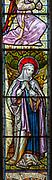 Stained glass window c 1881 detail of Saint Mary, Wenhaston church, Suffolk, England, UK