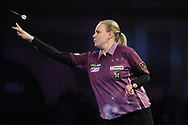 Anastasia Dobromyslova throwing the double to win the first leg of the match, and her first ever leg in the PDC World Championships, during the World Championship Darts 2018 at Alexandra Palace, London, United Kingdom on 17 December 2018.