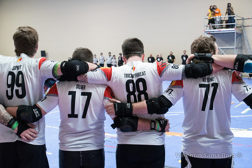 Players of Team Belgium preparing for the game against Team Spain during the MRDWC2018 in Barcelona, Spain.