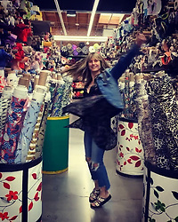 """Heidi Klum releases a photo on Instagram with the following caption: """"Sooooo much fabric .... so inspired .... lets go !!!!!\n@moodfabrics #design #passion"""". Photo Credit: Instagram *** No USA Distribution *** For Editorial Use Only *** Not to be Published in Books or Photo Books ***  Please note: Fees charged by the agency are for the agency's services only, and do not, nor are they intended to, convey to the user any ownership of Copyright or License in the material. The agency does not claim any ownership including but not limited to Copyright or License in the attached material. By publishing this material you expressly agree to indemnify and to hold the agency and its directors, shareholders and employees harmless from any loss, claims, damages, demands, expenses (including legal fees), or any causes of action or allegation against the agency arising out of or connected in any way with publication of the material."""