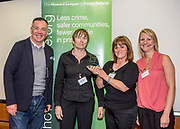 Professor David Wilson with Swindon Sex Worker Outreach Project (SWOP) The Nelson Trust, runner up in the women category.  <br /> The Howard League for Penal reform's Community Awards 2015 The Kings Fund, London, UK. All use must be credited © prisonimage.org