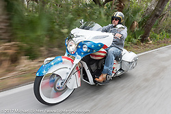 Tim Sutherland of Coastal Indian in SC riding his custom Indian Chieftain during Daytona Beach Bike Week. FL. USA. Monday March 13, 2017. Photography ©2017 Michael Lichter.
