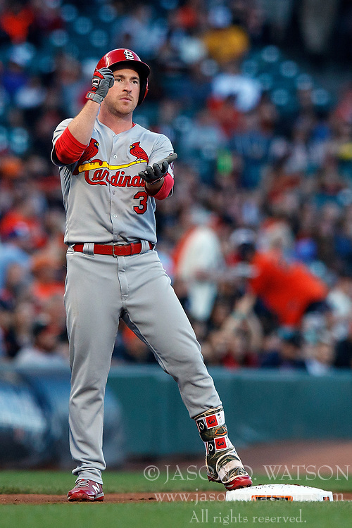 SAN FRANCISCO, CA - JULY 06: Jedd Gyorko #3 of the St. Louis Cardinals celebrates after hitting a triple against the San Francisco Giants during the second inning at AT&T Park on July 6, 2018 in San Francisco, California.  (Photo by Jason O. Watson/Getty Images) *** Local Caption *** Jedd Gyorko