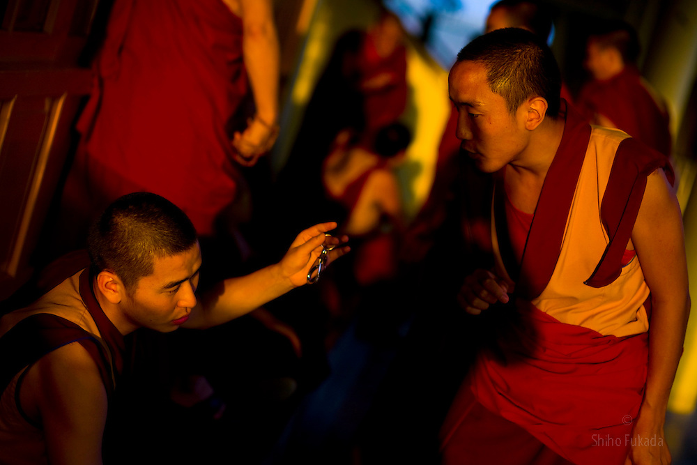INDIA - Life in Exile (Tibetan Refugees) <br /> Monks practice debating ritual at the Namgyal Monastery, opposite the Dalai Lama's residence in McLeod Ganj, Dharamsala, India, where the Dalai Lama settled after fleeing Tibet in 1959 after a failed uprising against Chinese rule, June 3, 2009.