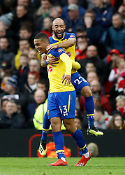 Southampton's Yan Valery (second right) celebrates scoring his side's first goal of the game during the Premier League match at Old Trafford, Manchester.
