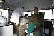 Mobile radioactivity testing unit, Chernobyl, Belarus. 20th Anniversary of  Chernobyl disaster conference in Gomel.
