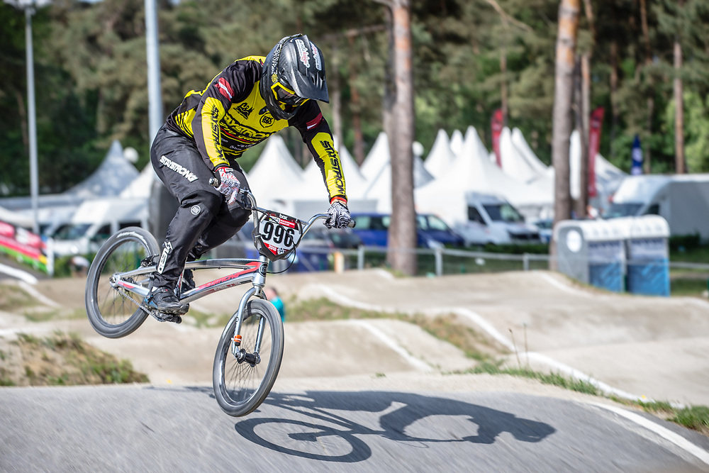 #996 (KRIGERS Kristens) LAT during practice at Round 5 of the 2018 UCI BMX Superscross World Cup in Zolder, Belgium