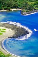 MOLOKAI, HI - A high angle view of Halawa bay on the Pacific island of Molokai, Hawaii.