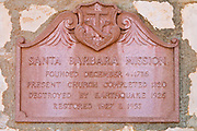 Plaque at the entrance to the Santa Barbara Mission (Queen of the missions), Santa Barbara, California