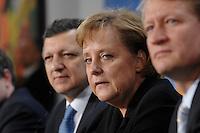 09 JAN 2007, BERLIN/GERMANY:<br /> Dr. Jose Manuel Barroso (L), Praesident der Europaeischen Kommission, und Angela Merkel (R), CDU, Bundeskanzlerin, waehrend einer Pressekonferenz, nach der gemeinsamen Kabinettsitzung des Bundeskabinetts und der Kommission der Europaeischen Kommission, Bundeskanzleramt<br /> IMAGE: 20070109-02-029<br /> KEYWORDS: Dr. José Manuel Barroso