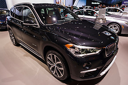 NEW YORK, USA - MARCH 23, 2016: BMW X1 on display during the New York International Auto Show at the Jacob Javits Center.