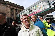 Over a thousand supporters of the EDL gather in Blackburn to protest against Islam, and the building of mosques, in the local area Blackburn, UK, 02/04/2011