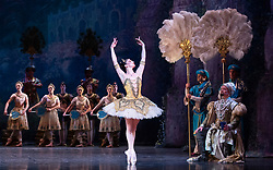 La Bayadere <br /> A ballet in three acts <br /> Choreography by Natalia Makarova <br /> After Marius Petipa <br /> The Royal Ballet <br /> At The Royal Opera House, Covent Garden, London, Great Britain <br /> General Rehearsal <br /> 30th October 2018 <br /> <br /> STRICT EMBARGO ON PICTURES UNTIL 2230HRS ON THURSDAY 1ST NOVEMBER 2018 <br /> <br /> <br /> <br /> Natalia Osipova as Gamzatti <br /> <br /> Thomas Whitehead as Rajah <br /> <br /> <br /> Photograph by Elliott Franks Royal Ballet's Live Cinema Season - La Bayadere is being screened in cinemas around the world on Tuesday 13th November 2018 <br /> --------------------------------------------------------------------