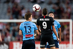 December 15, 2018 - Sydney, NSW, U.S. - SYDNEY, NSW - DECEMBER 15: Western Sydney Wanderers forward Oriol RieraÊ(9) and Sydney FC midfielder Brandon O'neill (13) go up for the ball at the Hyundai A-League Round 8 soccer match between Western Sydney Wanderers FC and Sydney FC at ANZ Stadium in NSW, Australia on December 15, 2018. (Photo by Speed Media/Icon Sportswire) (Credit Image: © Speed Media/Icon SMI via ZUMA Press)