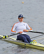 Hazewinkel, BELGIUM,   Women's Single Sculler,  Annie VERNON paddles to the start for the monfay Finalat the British Rowing Senior Trails, Bloso Rowing Centre. Monday  12/04/2010.  [Mandatory Credit. Peter Spurrier/Intersport Images]