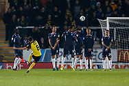 Scott Fraser scores a free kick goal to make it 1-1 and celebrates during the EFL Sky Bet League 1 match between Burton Albion and Southend United at the Pirelli Stadium, Burton upon Trent, England on 3 December 2019.