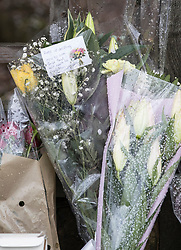 © Licensed to London News Pictures. 02/04/2018. London, UK. A message left on a floral tribute reads 'Rest up darling gone too soon Smile that will never be forgotten' near Ellerton Road in Wandsworth, south west London, where 20 year old Devoy Stapleton was stabbed to death at 1am on Sunday 1st April - the 31st fatal stabbing this year in the capital. It is being reported that London's murder rate has overtaken New York's.   Photo credit: Peter Macdiarmid/LNP
