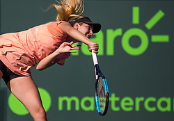 March 22, 2018 - Miami, Florida, United States - Oceane Dodin of France in action against Simona Halep of Romania in their second round match during the Miami Open Presented by Itau at Crandon Park Tennis Center on March 22, 2018 in Key Biscayne, Florida. (Credit Image: © Manuel Mazzanti/NurPhoto via ZUMA Press)