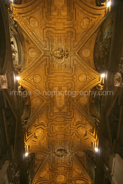 Interior roof of St Peters Basilica Cathedral The Vatican Rome Italy