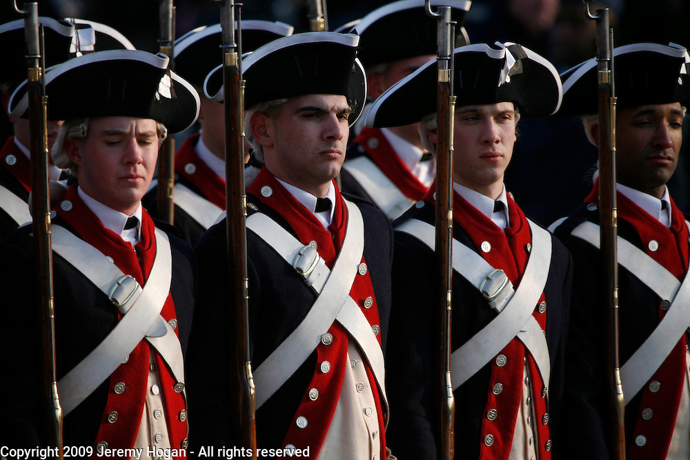 Members of the U.S. Army Old Guard march in Barack Obama's inaugural parade.