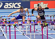 Andrew Pozzi (GBR) left,  leads the field on his way to winning gold in the Mens 60m Hurdles Final in a seasons best time of 7.46 during the final session of the IAAF World Indoor Championships at Arena Birmingham in Birmingham, United Kingdom on Saturday, Mar 2, 2018. (Steve Flynn/Image of Sport)