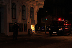 A policeman patrols near Norreport subway station in Copenhagen, Denmark, early Feb. 15, 2015. A shooting occurred near Norreport subway station early Sunday, injuring three people including two policemen. This is the second shooting in the capital city recently after another shooting Saturday night. EXPA Pictures © 2015, PhotoCredit: EXPA/ Photoshot/ Shi Shouhe<br /> <br /> *****ATTENTION - for AUT, SLO, CRO, SRB, BIH, MAZ only*****