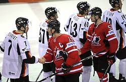Christopher Schmidt (7) of Germany and Shane Doan (19) of Canada after ice-hockey game Canada vs Germany in Qualifying Round Group F, at IIHF WC 2008 in Halifax,  on May 10, 2008 in Metro Center, Halifax, Nova Scotia,Canada. Canada won 11:1. (Photo by Vid Ponikvar / Sportal Images)