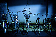 Bicycles at night.